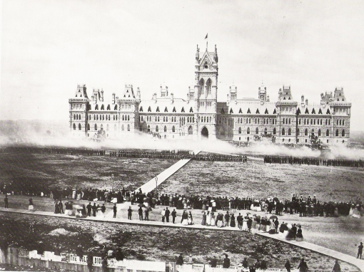 """Troops deliver a """"Feu-de-Joie"""" for the Queen's Birthday Review, Ottawa, Canada."""