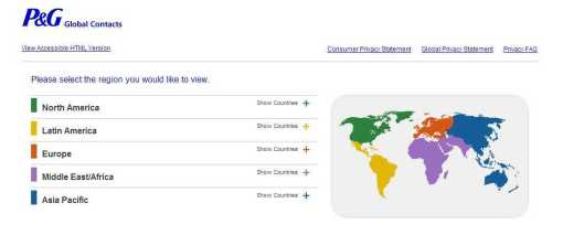 P&G Privacy Central – P&G Global Contacts