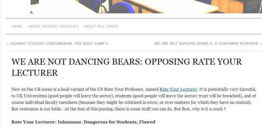 WE ARE NOT DANCING BEARS- OPPOSING RATE YOUR LECTURER » Critical Faculties