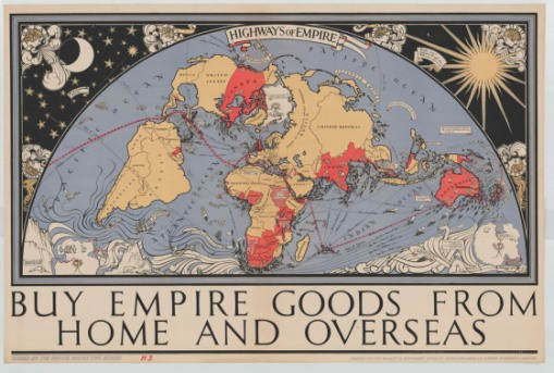 A 1927 pictoral map with all the dominions and trade routes. British Empire Marketing Board.   (Library and Archives Canada, Acc. No. 1983-27-382 Copyright expired.)