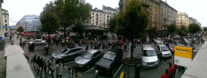 The stream of protesters along Rue de Mont Blanc